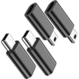 Micro USB to Mini USB Adapter, (4-Pack) Micro USB Female to Mini USB Male Convert Connector Support Charge & Data Sync Compat