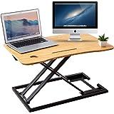 ZHU CHUANG Stand Up Desk Standing Desk Converter Gas Spring Sit Stand Desk Workstation Sit to Stand Desk Riser 100% Solid Bam
