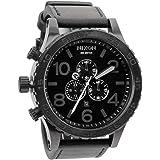 【ニクソン】 NIXON 腕時計 51-30 CHRONO LEATHER: ALL BLACK NA124001-00 【並行輸入品】 A124001 A124-001 51-30 クロノ レザー: オール ブラック