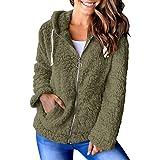 Womens Sherpa Long Sleeve Jacket Fleece Zip Up Hooded Chunky Pockets Coat Tops