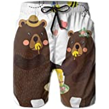 K0k2t0 Men Swim Trunks Beach Shorts,Forest Party with Grizzly Bears and Bees Having Fun Love Eating Honey Gratitude Theme XXL