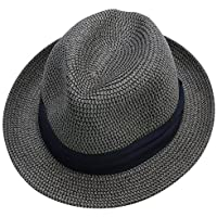 折りたたみ OK UVカット 中折れ ゴルフ ハット ストローハット 帽子 (ダークグレー92, L)