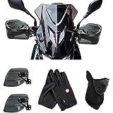 Pichidr ナックルバイザー バイク スクーター 汎用 ナックルガード スモーク バイザー ハンドガード ハンドルカバー 風防 雨除け 防寒対策 飛び石防止 ハンドスクリーン ナックルバイザー+グローブ付き