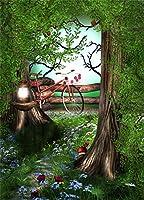 aofoto 6x 8ft写真スタジオの背景幕Dreamy Garden Vine Leaves背景FloretsツリーランプBike Boy Kid子Girl Adult Artistic Portrait写真撮影小道具ビデオドロップ壁紙ドレープ