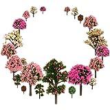 29pcs Mixed Model Trees, 1.5-5 inch(4-12 cm), OrgMemory Fruit Trees, Ho Scale Trees, Model Train Scenery, Architecture Trees,