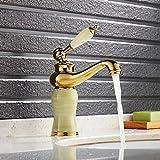 Auralum 混合水栓 蛇口 洗面用 シングルレバー ランプ型 ヨーロッパ風 手洗いボウル用 洗面台用 取り付けホース付き 玉石付き
