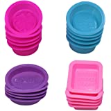20 Pcs Silicone Soap Making Molds Square Round Oval Shaped FineGood Soft Cupcake Muffin Baking Pan for DIY Homemade Craft Foo