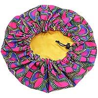 Bigood 1/2pcs Parent-Child Bonnet Silk Sleep Cap - Reversible Double Layer - Elastic Adjustable Oversize Size - Sleeping Hats Head Cover