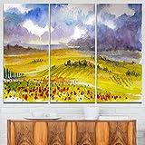 """デザインアート3ピース美しいTuscan Hillsイタリア風景画キャンバスMultipanelアート印刷、36"""" x 28インチ、グリーン"""