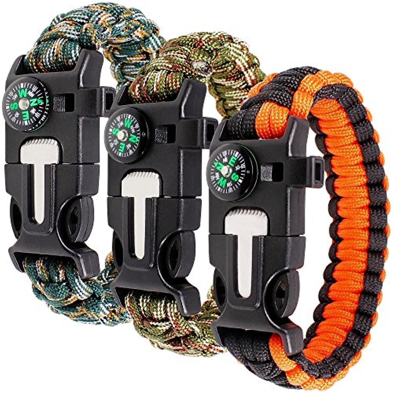 サバイバル ブレスレット 3個入り DLAND サバイバルキット 9 インチ コンパス?火スターター?緊急ナイフ ?笛付き 野外活動用