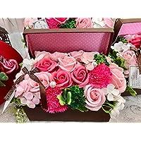 フレグランス シャボンフラワー ソープフラワー 紙石鹸 薔薇 造花 枯れない 花 溢れる フラワーボックス プレゼント 母の日 父の日 出産祝い 結婚祝い お見舞い 誕生日 石鹸 の 香り ギフト フラワーアレンジメント (ブラウンボックス)