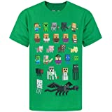 Minecraft T-Shirt Boys Kids Sprites Green Characters Short Sleeve Game Top