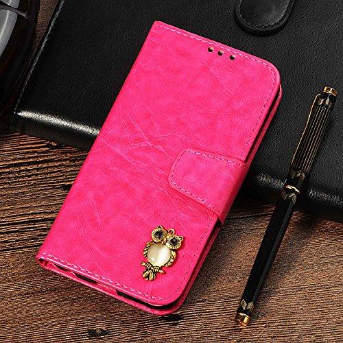 CUSKING Galaxy S4 手帳型 ケース、ギャラクシ S4 スマホケースPUレザー フリップ ノート型 ストラップ付き カード収納付き 保護ケース - ホトピンク