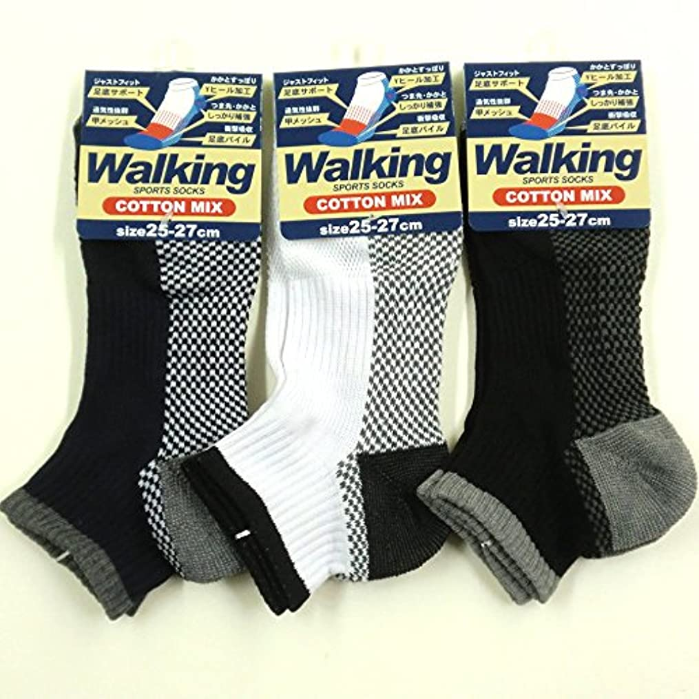 賞賛する用心太平洋諸島スニーカー ソックス メンズ ウォーキング 靴下 綿混 足底パイル 25-27cm 3足セット