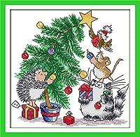 グッドバリューGood Valueクロスステッチキット 子供や初心者向け クリスマスー11CT 35×35cm DIY 手作り刺繍キット 正確な図柄印刷クロスステッチ 家庭刺繍装飾品 フレームがない