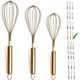 """Berglander 3 Pack Stainless Steel Whisks 8"""",10"""",12"""", Titianium Plating Gold Whisk, Beater,Wire Whisk Set Kitchen Whisk (pack"""