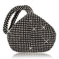 ファッショントライアングルフルラインストーンレディースイブニングクラッチバッグパーティーパーティーウェディングバッグハンドバッグ (ブラック)