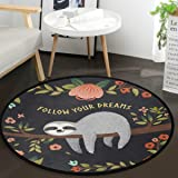 Vdsrup Tropical Tree Poppy Cute Sloth Round Doormat Funny Animal Flowers Non Slip Absorbent Round Rug Floor Carpet Yoga Mat f