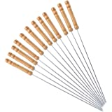 HAKSEN 12 PCS Barbecue Skewers with Wood Handle Marshmallow Roasting Sticks Meat Hot Dog Fork Best for BBQ Camping Cookware C