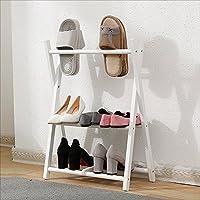 YNN 折りたたみ可能な多機能靴ラックソリッドウッドシェルフは、3つの色を選択するには58×20×32 cmを移動する (色 : 白)