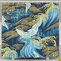 OKLETY Personalized Waterproof Shower Curtain Red-crowned Cranes Bathroom Curtains 60x72 Inches