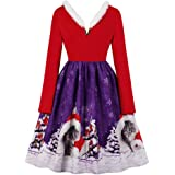 CHARMMA Women's Christmas Scalloped V Neck Sleeveless Music Note and Cat Print Dress