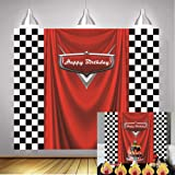 Daniu Racing Competition Champion Backdrop red Banner Victory Background Car Racing Check Flag Backdrop boy Birthday Party Ph