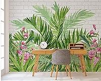Weaeo カスタム壁紙手描きの水彩の花熱帯雨林レンガの壁テレビの壁壁の壁紙の3D壁紙-120X100Cm