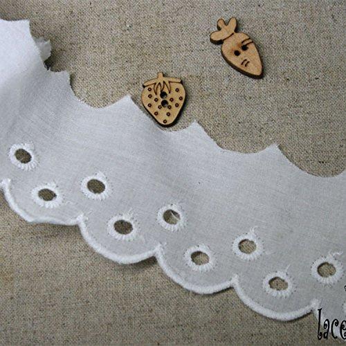 14ヤード刺繍コットンアイレットレーストリム5cm YH1409 (ホワイト)