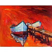 ArtzFolio Artwork Of Boats & Jetty 3 Unframed Premium Canvas Painting 20.2 x 16inch