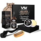 Beard Growth Kit, Beard Growth Oil Serum for Men, Facial Hair Growth Kit with Beard Balm + Comb, Titanium Beard Roller Kit fo