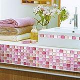 【 Dream Sticker 】モザイクタイルシール キッチン 洗面所 トイレの模様替えに最適のDIY 壁紙デコレーション ALT-9 レッド N-Red 【 自作アートインテリア / ウォールステッカー 】貼り方説明書付属