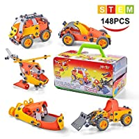 Model Building Blocks Toys Set Cars Aeroplane DIY Kits to Build 5-in-1 STEM Learning Toys 148PCS Education Construction Engineering Building Toys Gifts For Kids Boys and Girls Toys