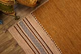 折りたたみ可能アジアンエスニックインド綿ラグ インドキリム ベージュ 約140х200cm 幾何学模様キリム輸入カーペット ホットカーペットカバー対応