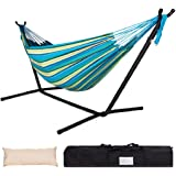 Lazy Daze Hammocks Double Hammock with Space Saving Steel Stand Includes Portable Carrying Case and Head Pillow, 450 Pounds C