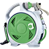 Hunting Friends Retractable Garden Hose Reel, 45+5 FT Wall Mounted Portable Simple Home Hose Reel with 6-Function Spray Nozzl