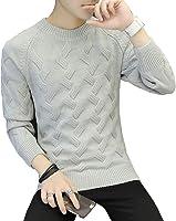 セーター メンズ トップス ニット クルーネック ケーブル編み 丸首 長袖 カジュアル 防寒 あったか おしゃれ カットソー