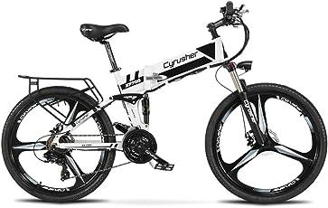 XF700アシスト自転車 CYRUSHER 折りたたみ マウンテンバイク 36V*10.4AH 荷台 公道走行と防犯登録可能 (black)