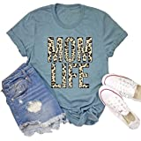 OMTYE Womens Mother's Day T-Shirt Leopard Mom Life Funny Short Sleeve Graphic Tee Tops