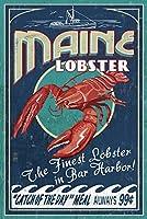 ロブスターVintage Sign–、メイン州港 24 x 36 Signed Art Print LANT-34176-710