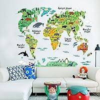 AmaonmR Cute Catoon Forest Animals Pandas, Sharks, Giraffes, Wolves, Bears World Map Wall Decals Removable Wall Stickers Murals Wallpaper Peel & Stick for Tv Background Living Room Classroom (Animals) [並行輸入品]