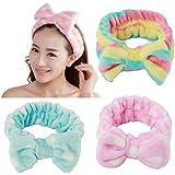 Fani 3 Pieces Women/Ladies Fashion Lovely/Cute Soft Carol Fleece Bowknot Bow Makeup Cosmetic Shower Elastic Hair Band Hairlac