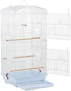 Aeon hum 鳥ケージ 豪華ケージ 鳥かご 3段階 大きいケージ インコ オウムケージ オカメ セキセイ ボタン コガネメキシコ コザクラ マメルリハ ウロコ アキクサ (白)