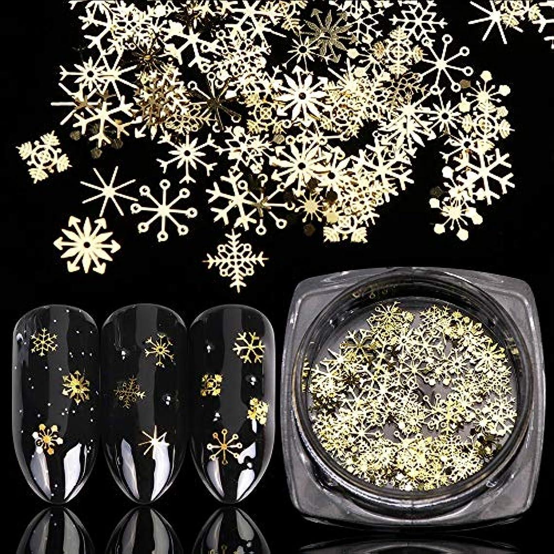 エントリアベニュー黒くするネイルアートのためのゴールドネイルグリッタースパンコールスノーフレークミックスデザインデコレーション1本