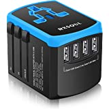 RXSQUL Universal International Travel Power Adapter W/Smart High Speed 4.6A 4xUSB , European Adapter, Worldwide AC Outlet Plu