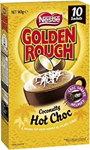 NESTLÉ Golden Rough Coconutty Hot Chocolate Drink, Chocolate Shaker Included, 10 Sachets, Total 147g