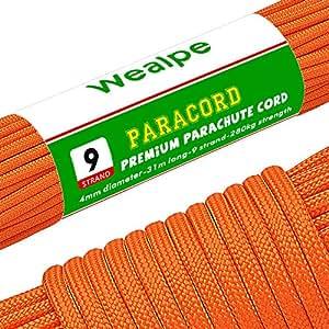 Wealpe パラコード 4mm パラシュートコード 9芯 テント ロープ ガイロープ 耐荷重 280kg アウトドア キャンプ サバイバル 用 (31m / 50m)