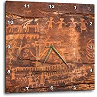 3D ローズ アメリカ西部 インディアン ペトログリフ サンドストーン壁時計、33.02cm x 33.02cm