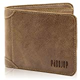 [パボジョエ]Pabojoe財布 メンズ 二つ折り 小銭入れなし 本革 ブランド カードケース 薄型 人気 イタリアンレザー 男性 高級 極薄 (ブラウン)