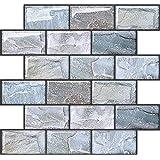 APSOONSELL 見た目は普通のタイル 3D タイルシール 27.0x25.4cm 4枚 【簡単に貼れる】 キッチンタイル 耐熱 防水 防汚 モザイクタイル 壁紙シール はがせる 壁紙 レンガ グレー